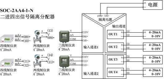 二进四出隔离器接线图